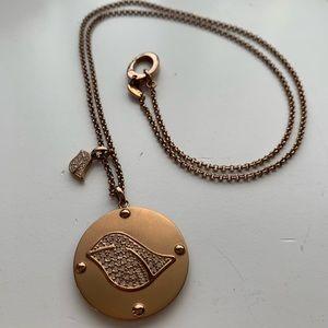 Fossil Steel Long Pave Medallion Necklace Rosetone